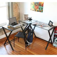 walker edison glass and metal x frame corner computer desk black
