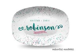 engraved platter wedding gift confetti and turquoise personalized platter wedding gift for
