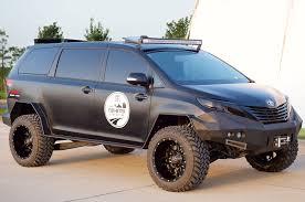 subaru baja mud tires toyota creates the ultimate off road sienna minivan monster