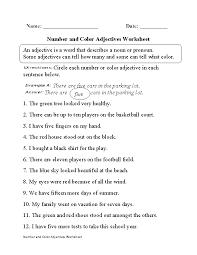 regular adjectives worksheets number and color adjectives worksheet
