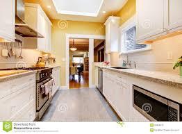 cuisine jaune et blanche cuisine moderne étroite jaune et blanche photo stock image du