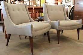 Mid Century Modern Living Room Chairs Paul Mccobb Style Slipper Chairs Houston Grey Fabric Wood Legs