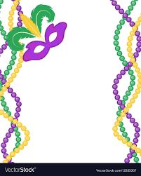 mardi gras beeds mardi gras colored frame with a mask vector image