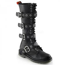 ladies black leather biker boots buckled rival 404 womens combat boot knee high gothic boot