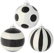 raz imports glittered black and white striped and polka dot glass