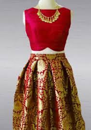 silk skirt brocade skirt and silk crop top