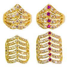 rings design 22ct yellow gold cz stones rings mixed design bundle 05