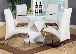 white round dining table for 4 modern upholstered dining chairs