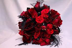red rose bouqet black feathers bling metro detroit michigan