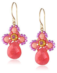 pink drop earrings miguel ases small swarovski center pink coral and dyed