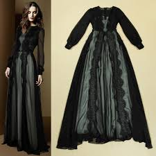 black lace dress see through sheer long sleeve floor length a
