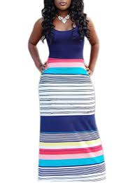 cheap maxi dresses horizontally striped maxi sundress sleeveless blue black white