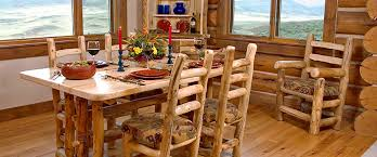 rustic log dining room tables mwf mountain woods furniture