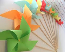 Pinwheel Decorations Birthday Favors Paper Pinwheels Custom Made Party Decorations
