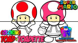 color toad toadette super mario nintendo coloring