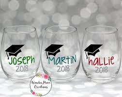 graduation wine glasses graduate wine glass etsy