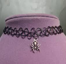 spider charm tattoo choker one size fits all halloween jewelry