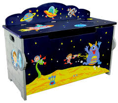 outer space kids handcrafted wooden toy chest with safety hinges