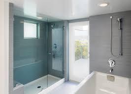 frameless glass exterior doors fiberglass shower pan bathroom contemporary with blue glass deck