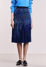 designers remix designers remix tillie pleated skirt blue metallic zalando co uk