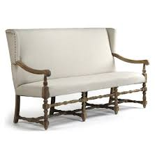 tufted white dining bench with wood leg amusing room long back