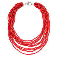 beaded coral necklace images Joya by judy crowell 20 quot red coral multi strand beaded necklace w