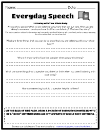 Parts Of Speech Worksheet Listening With Your Whole Body Everyday Speech Everyday Speech