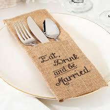wedding silverware eat drink and be married burlap silverware holder set of 4