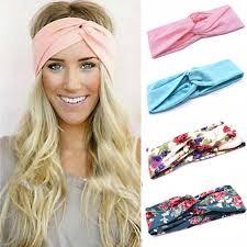 stretch headbands floral print women cotton stretch twist headbands turban sport