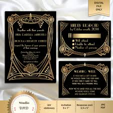 great gatsby style art deco wedding invitation suite by studiodmd