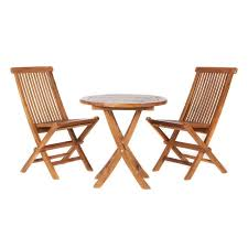 Folding Bistro Table And Chairs Set All Things Cedar Ts26 Set 3 Piece Teak Outdoor Bistro Set Lowe U0027s