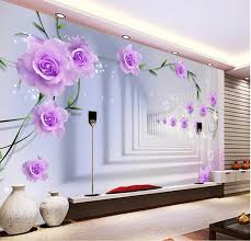 Wallpaper Design In Bedroom Photo Wallpaper Custom 3d Wall Murals Purple Flowers