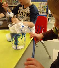 preschool make it rain shaving cream blue food coloring eye