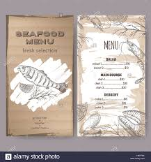 seafood restaurant menu template with sketch of grilled fish stock
