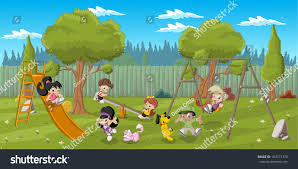 cute happy cartoon kids playing playground stock vector 184771370