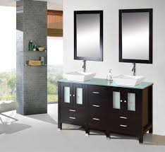 60 inch modern bathroom vanity cabinet furniture double sink glass top