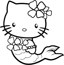 cute kitty coloring pages mermaid cartoon coloring