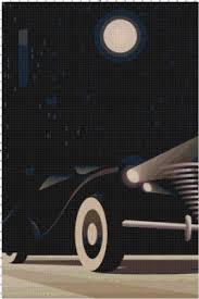 handmade googie art deco car pdf cross stitch pattern art deco