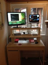 Ikea Stand Up Desks Pleasing Rectangle Black Metal Ikea Stand Up Desk Hack Metal