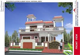 3d exterior view of north indian style house