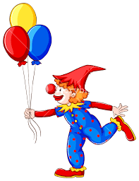 clown baloons a coloured drawing of a clown with balloons on a white background