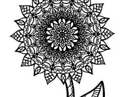 Flower Coloring Page Etsy Mandala Flowers Coloring Pages