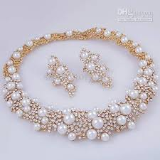 pearl bracelet set images Crystal pearl bridal jewelry set necklace earrings 18k gp zinc jpg