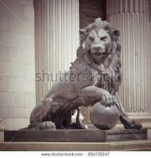 lion statue lion statue madrid spain retro effect stock photo 204735247