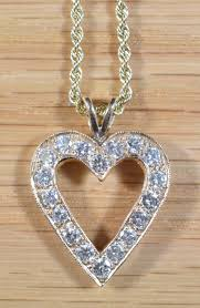 rope necklace pendant images 14k gold diamond heart pendant on 18 inch 14k rope chain 5088 JPG