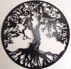 tree of life wall decor metal art black zoom