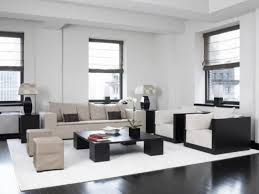 white modern living room living room minimalist black square wooden desk on white rug on