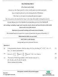 icse 2016 mathematics class x board question paper 10 years