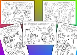 trolls coloring pages trolls birthday party favor pdf file by