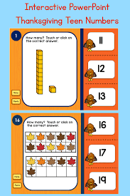 thanksgiving interactive thanksgiving teen numbers tens blocks and ten frames powerpoint